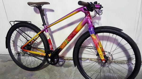 Аэрография на велосипеде цветочки