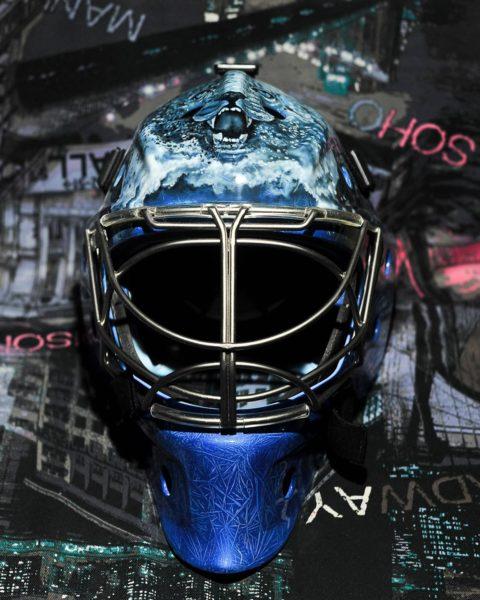 Аэрография на шлеме для вратаря команды Барыс - Виталия Колесникова