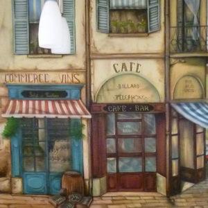 Парижская улочка, ручная роспись на кухне