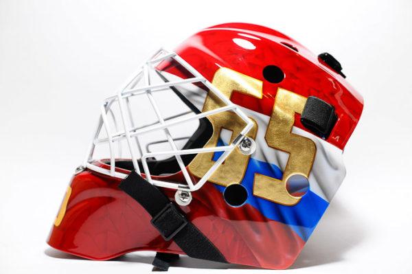 Шлем хоккейный аэрография Российский флаг и герб