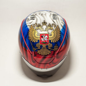 Велосипедный шлем аэрография Российский флаг и герб
