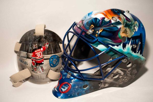 Хоккейный шлем аэрография Рокки бальбоа, Черный плащ, Вратарь.